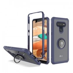 HEAVY DUTY BUMPER CASE WITH RING STAND FOR LG K51 - BLUE