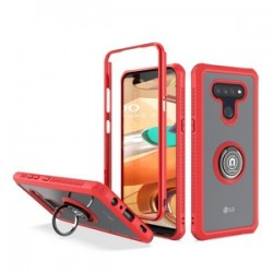 HEAVY DUTY BUMPER CASE WITH RING STAND FOR LG K51 - RED