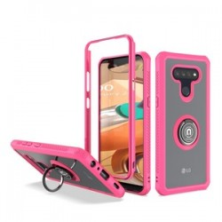 HEAVY DUTY BUMPER CASE WITH RING STAND FOR LG K51 - PINK