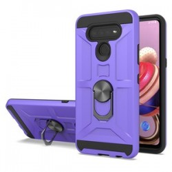 NEW MATTE DESIGN BRUSH CASE WITH RING STAND FOR LG K51 - PURPLE