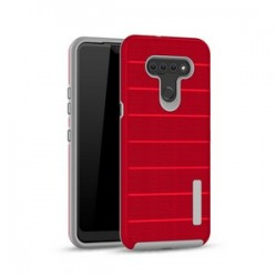 NEW TEXTURE BRUSHED METAL CASE FOR LG K51 - RED