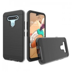 HYBRID TEXTURE BRUSHED METAL CASE FOR LG K51 - BLACK