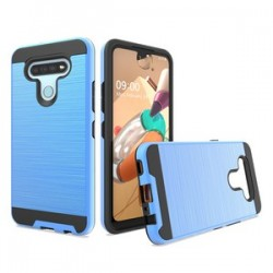 HYBRID TEXTURE BRUSHED METAL CASE FOR LG K51 - BLUE