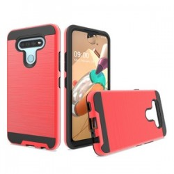 HYBRID TEXTURE BRUSHED METAL CASE FOR LG K51 - RED