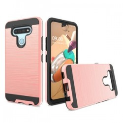HYBRID TEXTURE BRUSHED METAL CASE FOR LG K51 - ROSE GOLD