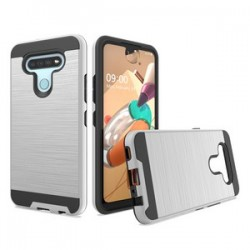HYBRID TEXTURE BRUSHED METAL CASE FOR LG K51 - SILVER