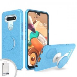 BLING CASE WITH POP UP FOR LG K51 - BLUE