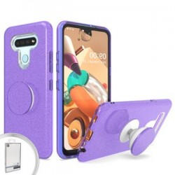 BLING CASE WITH POP UP FOR LG K51 - PURPLE