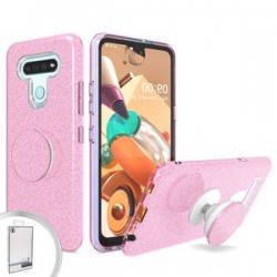 BLING CASE WITH POP UP FOR LG K51 - PINK