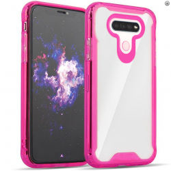 3-IN-1 HEAVY DUTY TRANSPARENT CASE FOR LG K51 - HOT PINK