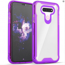 3-IN-1 HEAVY DUTY TRANSPARENT CASE FOR LG K51 - PURPLE