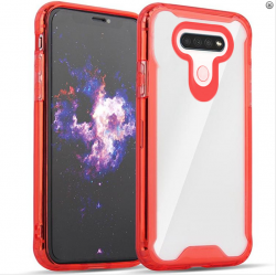 3-IN-1 HEAVY DUTY TRANSPARENT CASE FOR LG K51 - RED