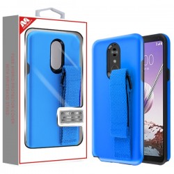 Rubberized Dark Blue/Black Fuse Hybrid Protector Cover (With Dark Blue Wristband Stand) (with Package) For LG Stylo5
