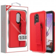 Rubberized Red/Black Fuse Hybrid Protector Cover (With Red Wristband Stand) (with Package) For LG Stylo5