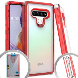 3 IN 1 Transparent Case for LG STYLO 6 - Red