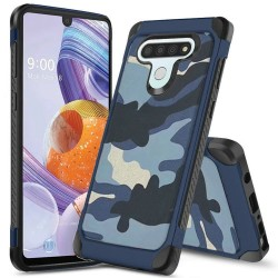 High Quality Design PC TPU Hybrid for LG STYLO 6 - Camo/Blue