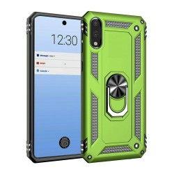 HEAVY DUTY RING STAND CASES FOR LG STYLO 6 GREEN