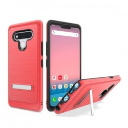Brushed Metallic Case W/ Edge and Kickstand for LG STYLO 6 - Red