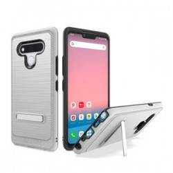 Brushed Metallic Case W/ Edge and Kickstand for LG STYLO 6 - Silver