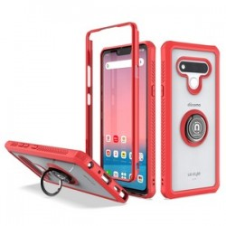 Heavy Duty Bumper Case With Ring Stand for LG STYLO 6 - Red