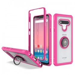 Heavy Duty Bumper Case With Ring Stand for LG STYLO 6 - Pink