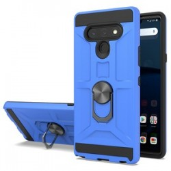 NEW MATTE DESIGN BRUSH CASE WITH RING STAND FOR LG STYLO 6 BLUE