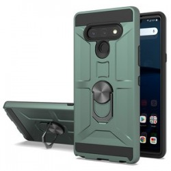NEW MATTE DESIGN BRUSH CASE WITH RING STAND FOR LG STYLO 6 ARMY GREEN