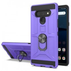 NEW MATTE DESIGN BRUSH CASE WITH RING STAND FOR LG STYLO 6 PURPLE