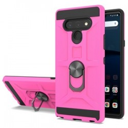 NEW MATTE DESIGN BRUSH CASE WITH RING STAND FOR LG STYLO 6 PINK