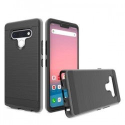 Hybrid Texture Brushed Metal case, For LG STYLO 6 - Black