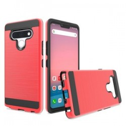 Hybrid Texture Brushed Metal case, For LG STYLO 6 - Red