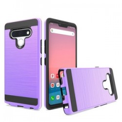 Hybrid Texture Brushed Metal case, For LG STYLO 6 - Purple