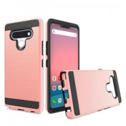 Hybrid Texture Brushed Metal case, For LG STYLO 6 - Rose Gold