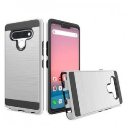Hybrid Texture Brushed Metal case, For LG STYLO 6 - Silver