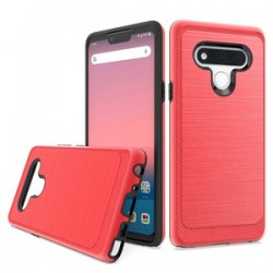 Brushed Metallic Case W/ Edge for LG STYLO 6 - Red