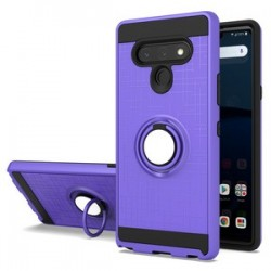 METALIC BRUSH METAL CASE HYBRID WITH RING STAND FOR LG STYLO 6 PURPLE
