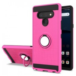 METALIC BRUSH METAL CASE HYBRID WITH RING STAND FOR LG STYLO 6 PINK