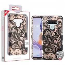 LG Stylo 6 - Mybat Phoenix Flower (2D Rose Gold)/Black TUFF Hybrid Phone Protector Cover [Military-Grade Certified](with Package)