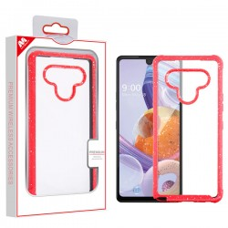 Mybat Highly Transparent Splash Hybrid Case (with Package) for LG STYLO 6 Clear/Red