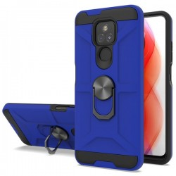 New Matte Design Brush Case with Ring Stand Case for Motorola G Play 2021 - Blue