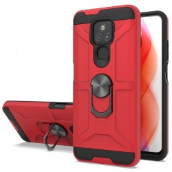 New Matte Design Brush Case with Ring Stand Case for Motorola G Play 2021 - Red