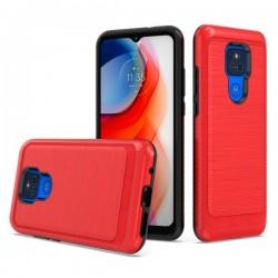 Brushed Metallic Case for Motorola G Play 2021 - Red