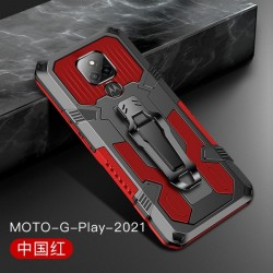 Kickstand and Metal Clip for Motorola G Play 2021 - Red
