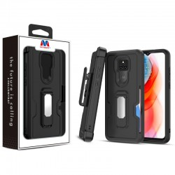 MyBat Grip Stand Protector Case Combo (with Black Holster)(with Card Wallet) for Motorola Moto G Play (2021) - Black / Black