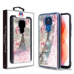 MyBat Quicksand Glitter Hybrid Protector Cover for Motorola Moto G Play (2021) - Eiffel Tower & Pink Hearts