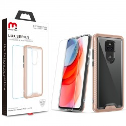 MyBat Pro Lux Series Case with Tempered Glass for Motorola Moto G Play (2021) - Rose Gold