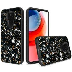 Glitter Printed Design Hybrid Case For Motorola Moto G Play 2021 - Black Gold Marble