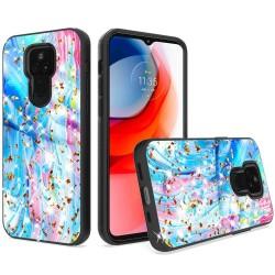 Glitter Printed Design Hybrid Case For Motorola Moto G Play 2021 - Colorful Galaxy