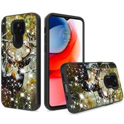 Glitter Printed Design Hybrid Case For Motorola Moto G Play 2021 - Deer Hunter