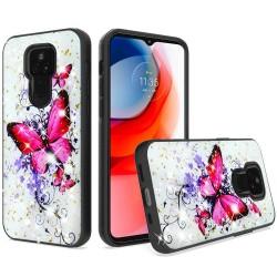 Glitter Printed Design Hybrid Case For Motorola Moto G Play 2021 - Enchanted Butterfly